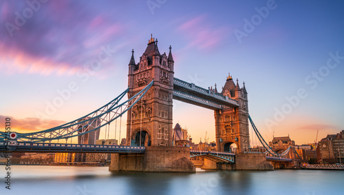 tower bridge in london at sunset London UK March Canvas Print