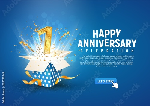 Fotografiet 1 st year anniversary banner with open burst gift box