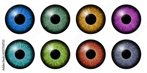 Foto op Aluminium Iris Different eyes iris macro illustration