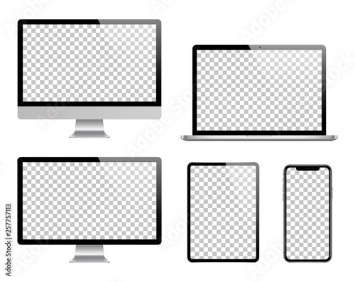 Laptop, computer, tablet, smartphone and monitor set. Vector Wall mural