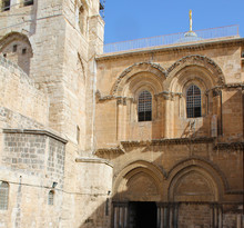 View On Main Entrance To The Church Of The Holy Sepulchre, Via Dolorosa, Jerusalem