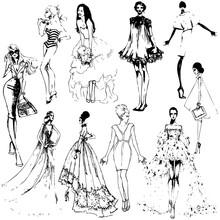 Fashion Girls. Template Sketch