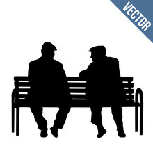 Two Elderly People Silhouettes...