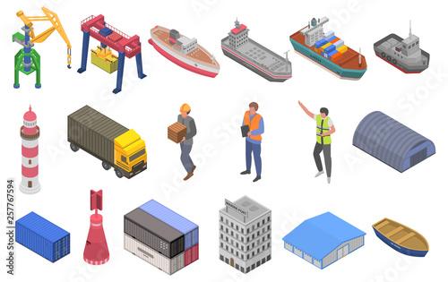 Vászonkép Marine port icons set
