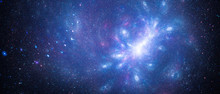 Blue Glowing Interstellar Starfield With Galactic Anomaly