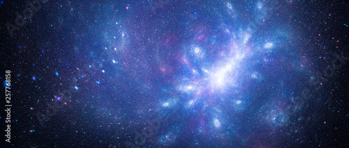 Blue glowing interstellar starfield with galactic anomaly Canvas Print