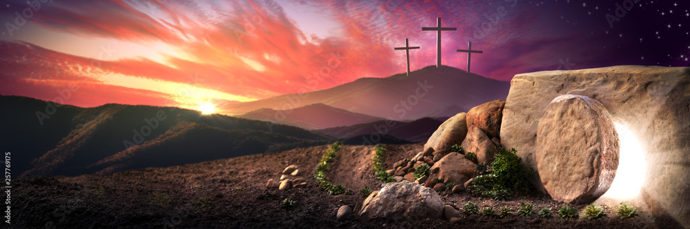 Fototapeta Empty Tomb Of Jesus Christ At Sunrise With Three Crosses In The Distance - Resurrection Concept
