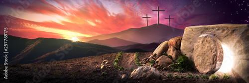 Aluminium Prints Equestrian Empty Tomb Of Jesus Christ At Sunrise With Three Crosses In The Distance - Resurrection Concept