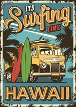 Vintage Colorful Surfing Poster