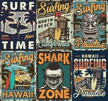 Vintage Colorful Surfing Poste...