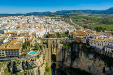 Ronda Spain Aerial View Of Medieval Hilltop Town Surrounded By Walls And Towers With Famous Bridge Over Gorge
