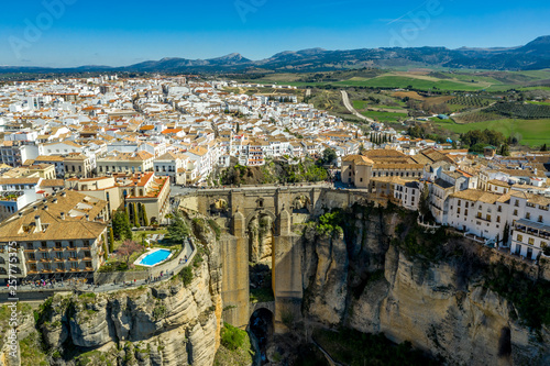 Obraz na plátne Ronda Spain aerial view of medieval hilltop town surrounded by walls and towers