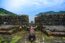 View Of An Old Spanish Cannon In A Colonial Fort In Portobelo, Panama.