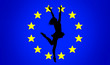 Leinwanddruck Bild - Silhouette of a girl, against the background of the flag of the European Union, in an abstract pose jumping ballerina on stage, with outstretched wings in the form of hands and grabs the star.