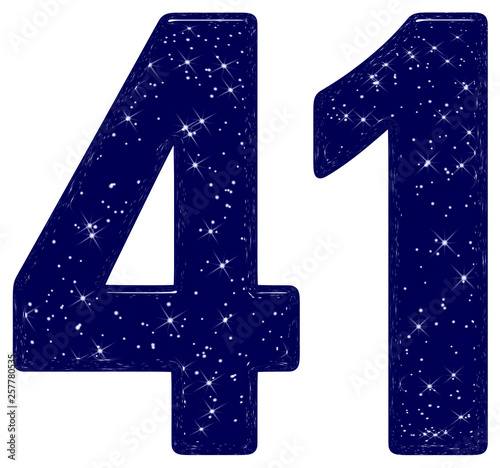 Tela  Numeral 41, forty one, star sky texture imitation, isolated on white background,