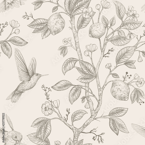 Tapeta do salonu  vector-sketch-pattern-with-birds-and-flowers-hummingbirds-and-flowers-retro-style-nature-backdrop-vintage-monochrome-flower-design-for-wrapping-paper-cover-textile-fabric-wallpaper