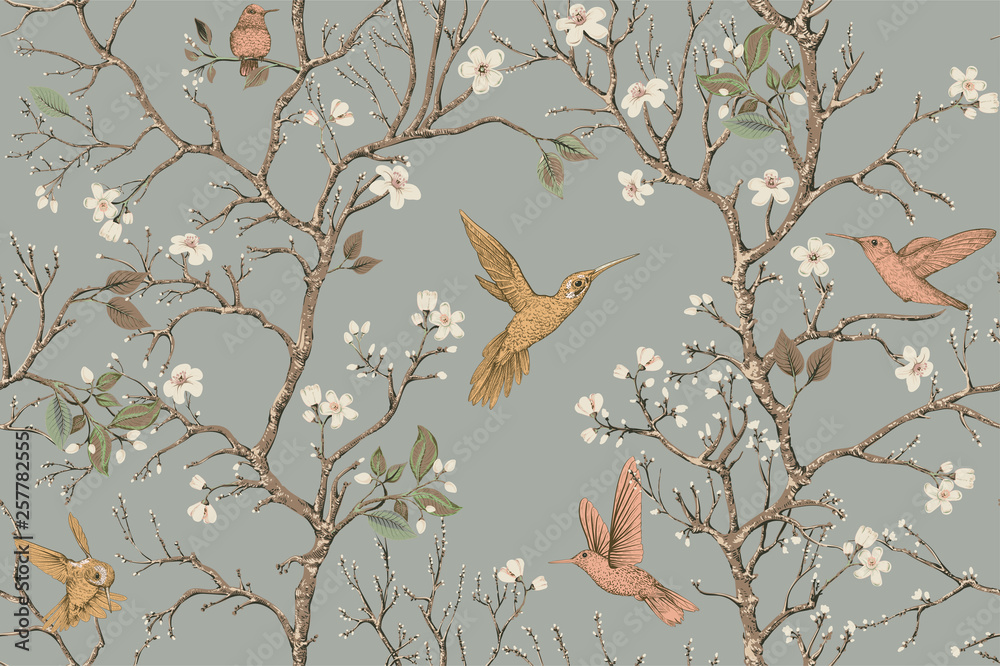 Fototapeta Vector colorful pattern with birds and flowers. Hummingbirds and flowers, retro style, floral backdrop. Spring, summer flower design for web, wrapping paper, cover, textile, fabric, wallpaper