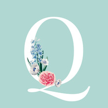 Floral Styled Letter Q Typography