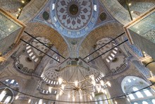 Interior View And Ceiling Of Sultan Ahmed Mosque (also Called Blue Mosque) In Istanbul, Turkey