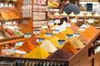 Turkish spices in the Grand Spice Bazaar. Colorful spices in sale shops in the Spice Market of Istanbul, Turkey