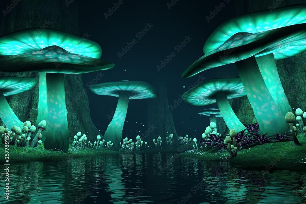 Fototapeta Tall glowing mushrooms along a lake with fireflies, fantasy backdrop / background, 3d render.