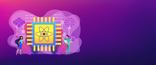 Tiny People Engineer And Scientist Working With Quantum Computer Chip. Optical Technology, Photonics Research, Quantum Computing Concept. Header Or Footer Banner Template With Copy Space.