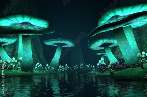 Tall glowing mushrooms along a lake with fireflies, fantasy backdrop / background, 3d render.