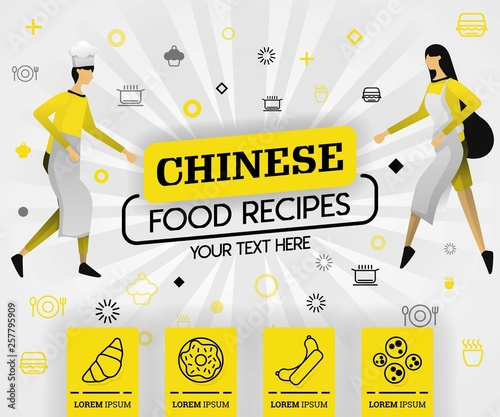 yellow vector illustration concept. chinese food recipes