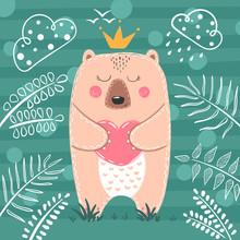 Cute Princess Bear - Cartoon Illustration.