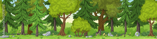 Seamless forest summer landscape with separate layers. Wallpaper Mural