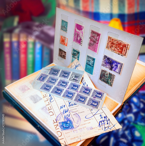 Deurstickers Imagination Old fashioned stamps album series