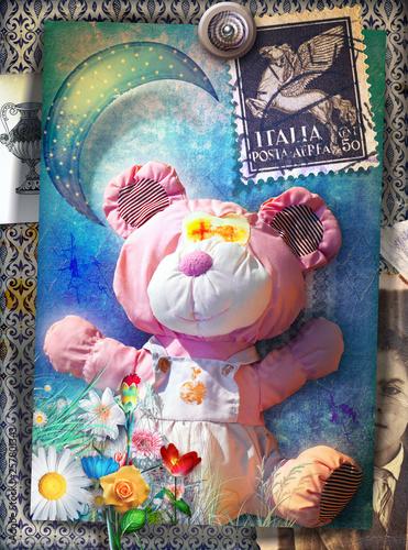 Deurstickers Imagination Orsetto giocattolo vintage e vecchia maniera, con graffiti e luna stellata