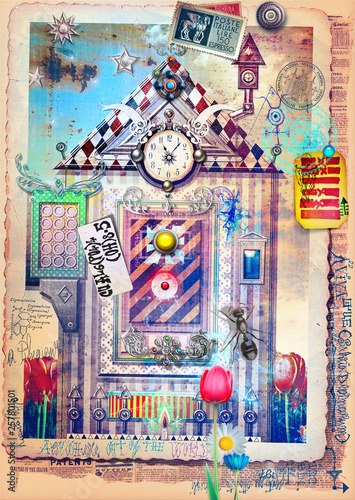 Photo sur Aluminium Imagination Enchanted and fairytales landscape with strange door and window