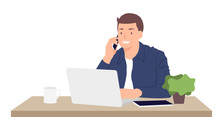 Cartoon People Character Design Young Man Working On Laptop And Talking On The Mobile Phone While Sitting By The Desk In The Office