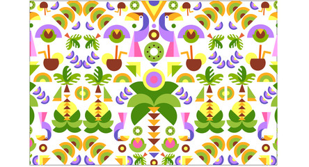 Tropical seamless print pattern, bright trendy summer design with exotic fruit, leaves, birds, colorful vector Illustration