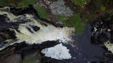 Drone Aerial Of Rogie Falls With Salmon Jumping