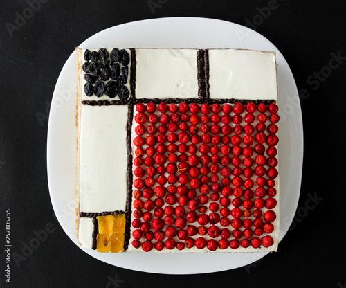 Valokuva  colorful rectangles; mondrian style cake