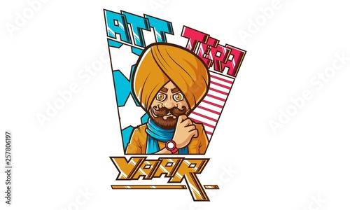 Fototapeta Vector cartoon illustration of punjabi design- Att Tera Yaar