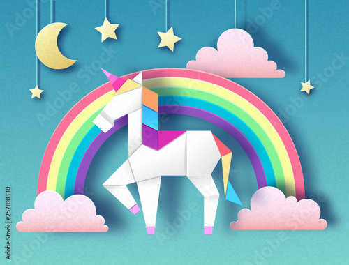 Fantasy animal horse unicorn with rainbow. Cut out paper art style design. Origami