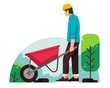 Workman with Construction trolley vector flat illustration