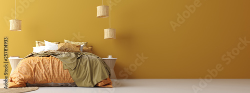 Photo  Bedroom interior in Bohemian style with patterned bed, panoramic view, 3d render