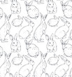 Vector seamless pattern with hand drawn rabbits.