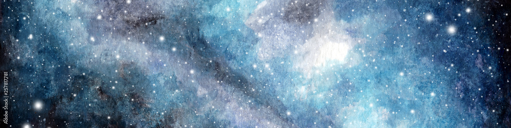 Fototapeta Abstract watercolor galaxy sky background, Cosmic texture. Night sky. Universe filled with stars. fantasy background.