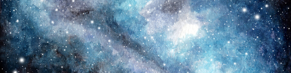 Abstract watercolor galaxy sky background, Cosmic texture. Night sky. Universe filled with stars. fantasy background.