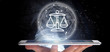 Leinwandbild Motiv Businessman holding Cloud of justice and law icon bubble with data 3d rendering