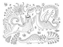 A Fat  Lying Dragon Woman In B...
