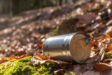 Tin Can Waste On Forest Floor Closeup