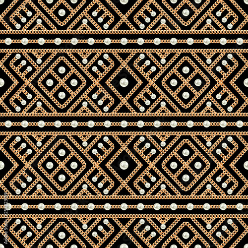 Seamless pattern of Gold chain geometrical ornament and pearls on black background Fototapeta