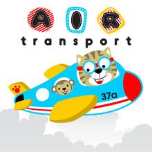 Cartoon Of Cat With Monkey On Plane