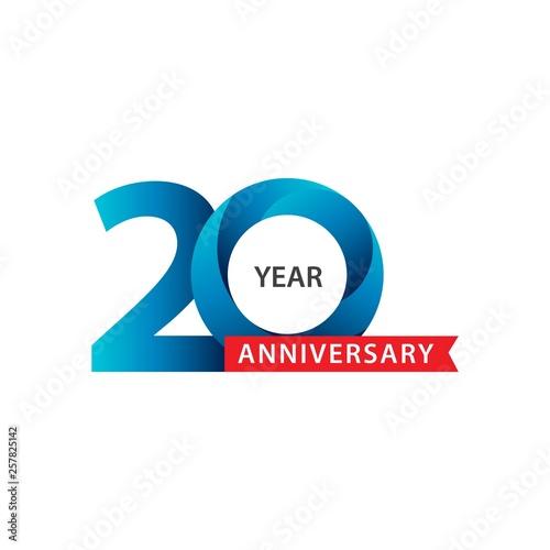 Fotografía Happy 20th Year Anniversary Vector Template